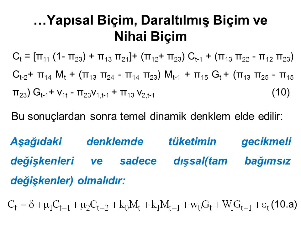 …Yapısal Biçim, Daraltılmış Biçim ve Nihai Biçim C t = [π 11 (1- π 23 ) + π 13 π 21 ]+ (π 12 + π 23 ) C t-1 + (π 13 π 22 - π 12 π 23 ) C t-2 + π 14 M
