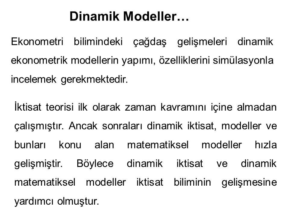 Ekonometri bilimindeki çağdaş gelişmeleri dinamik ekonometrik modellerin yapımı, özelliklerini simülasyonla incelemek gerekmektedir. Dinamik Modeller…