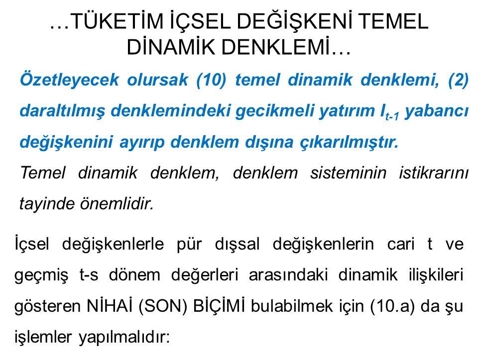 …TÜKETİM İÇSEL DEĞİŞKENİ TEMEL DİNAMİK DENKLEMİ… Özetleyecek olursak (10) temel dinamik denklemi, (2) daraltılmış denklemindeki gecikmeli yatırım I t-