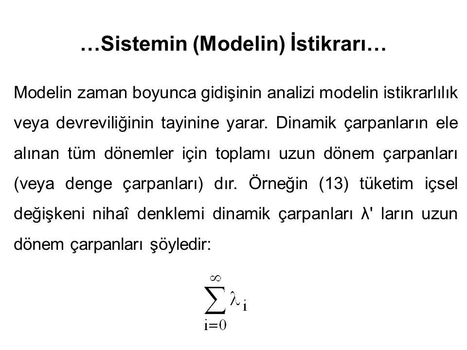 …Sistemin (Modelin) İstikrarı… Modelin zaman boyunca gidişinin analizi modelin istikrarlılık veya devreviliğinin tayinine yarar. Dinamik çarpanların e