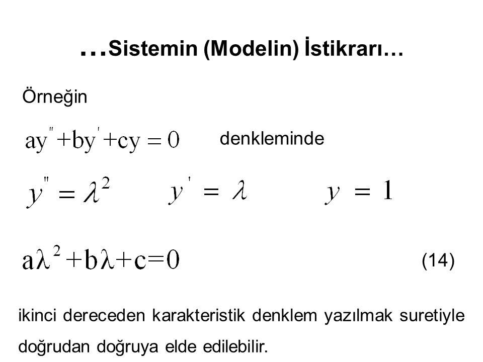 … Sistemin (Modelin) İstikrarı… Örneğin denkleminde ikinci dereceden karakteristik denklem yazılmak suretiyle doğrudan doğruya elde edilebilir. (14)