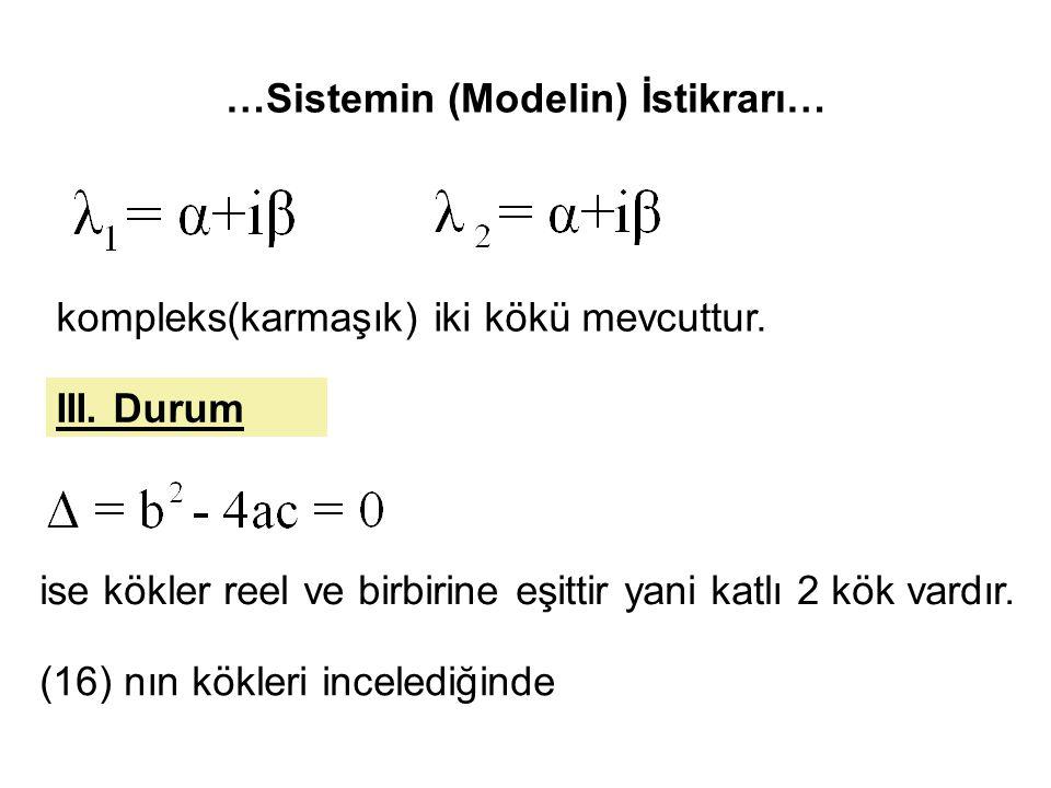 …Sistemin (Modelin) İstikrarı… kompleks(karmaşık) iki kökü mevcuttur. III. Durum ise kökler reel ve birbirine eşittir yani katlı 2 kök vardır. (16) nı