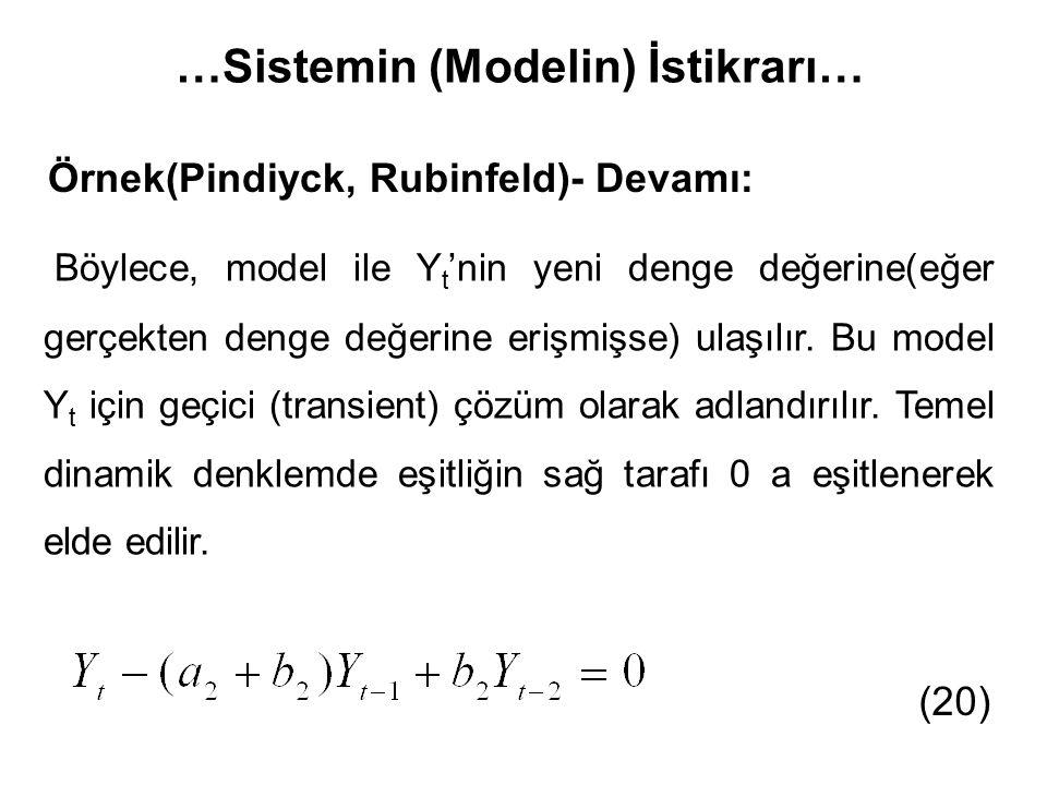 …Sistemin (Modelin) İstikrarı… Örnek(Pindiyck, Rubinfeld)- Devamı: Böylece, model ile Y t 'nin yeni denge değerine(eğer gerçekten denge değerine erişm