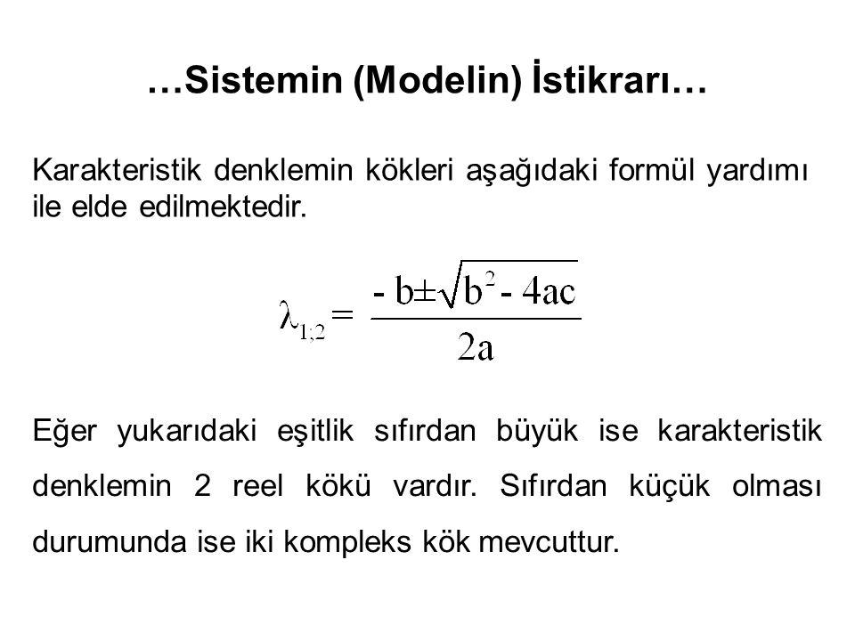 …Sistemin (Modelin) İstikrarı… Karakteristik denklemin kökleri aşağıdaki formül yardımı ile elde edilmektedir. Eğer yukarıdaki eşitlik sıfırdan büyük