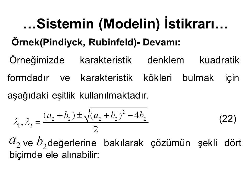 …Sistemin (Modelin) İstikrarı… Örnek(Pindiyck, Rubinfeld)- Devamı: (22) Örneğimizde karakteristik denklem kuadratik formdadır ve karakteristik kökleri