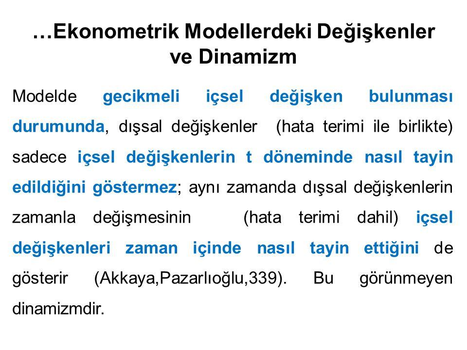…Ekonometrik Modellerdeki Değişkenler ve Dinamizm Modelde gecikmeli içsel değişken bulunması durumunda, dışsal değişkenler (hata terimi ile birlikte)