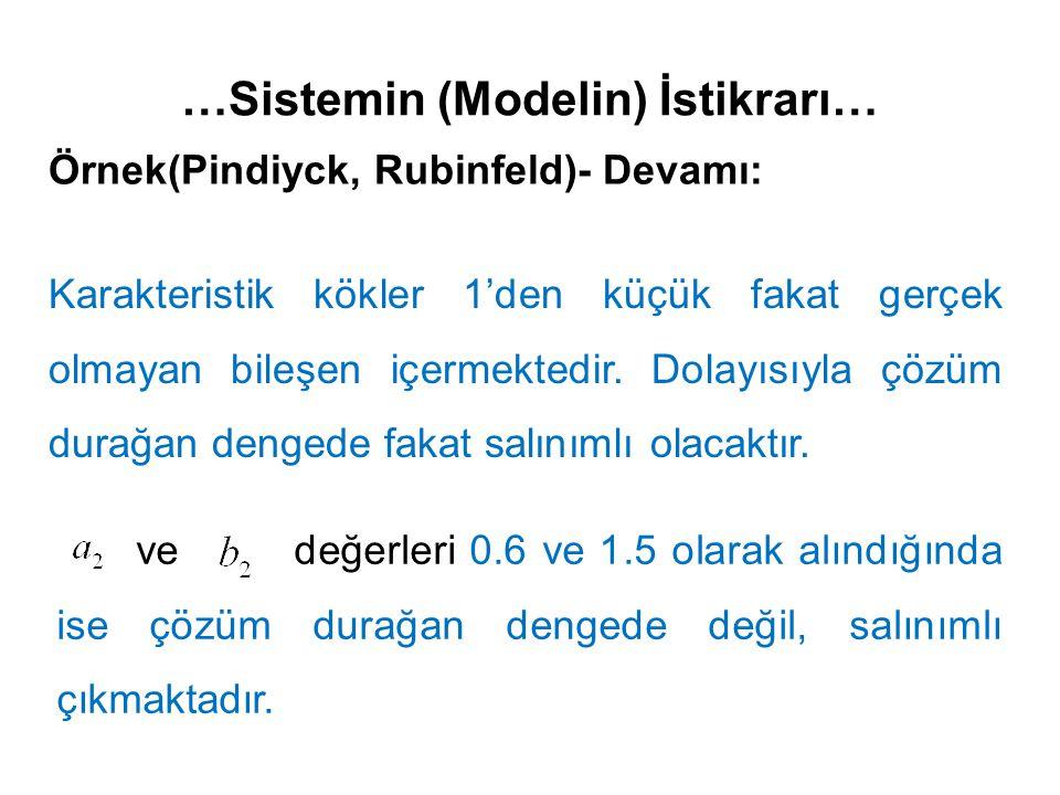 …Sistemin (Modelin) İstikrarı… Örnek(Pindiyck, Rubinfeld)- Devamı: Karakteristik kökler 1'den küçük fakat gerçek olmayan bileşen içermektedir. Dolayıs
