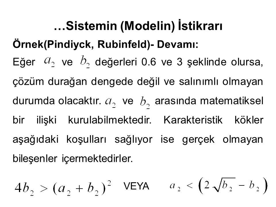 …Sistemin (Modelin) İstikrarı Örnek(Pindiyck, Rubinfeld)- Devamı: Eğer ve değerleri 0.6 ve 3 şeklinde olursa, çözüm durağan dengede değil ve salınımlı