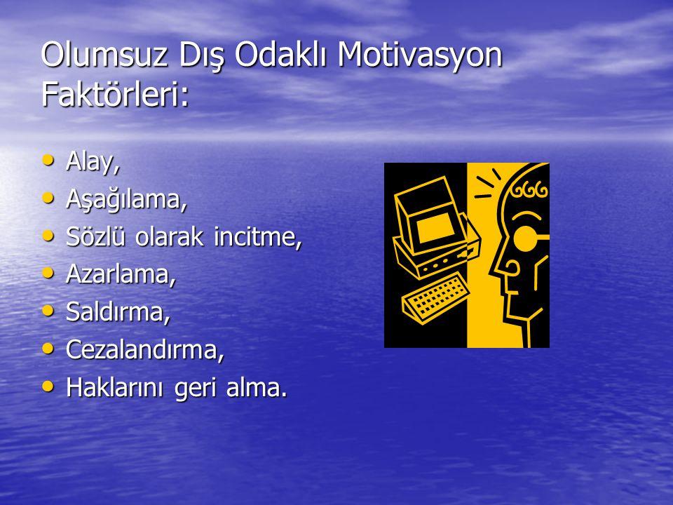 Olumsuz Dış Odaklı Motivasyon Faktörleri: Alay, Alay, Aşağılama, Aşağılama, Sözlü olarak incitme, Sözlü olarak incitme, Azarlama, Azarlama, Saldırma,