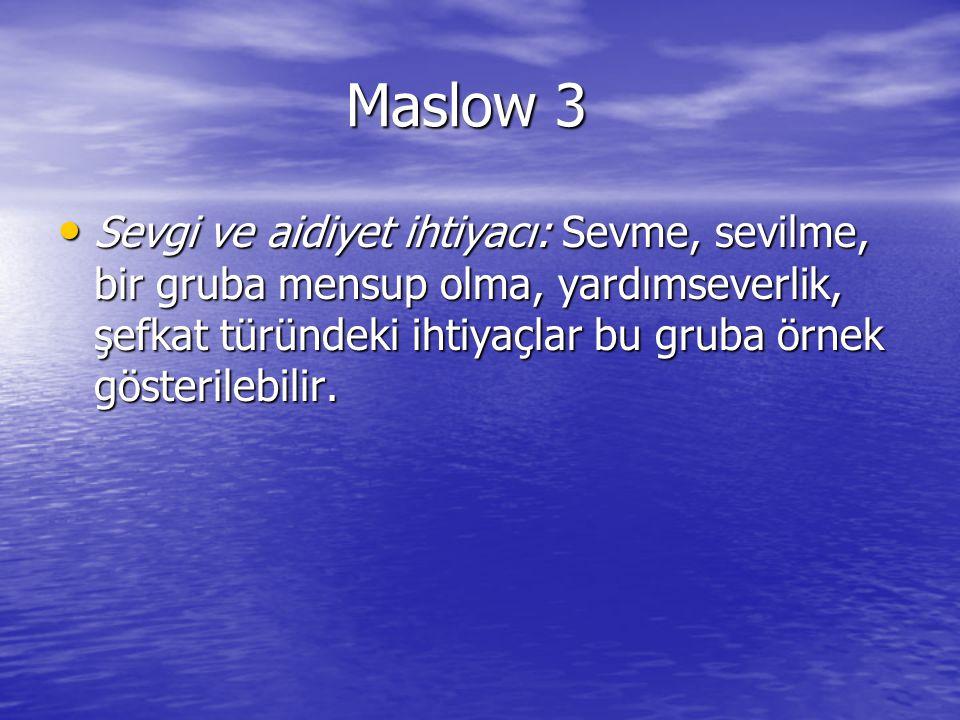 Maslow 3 Sevgi ve aidiyet ihtiyacı: Sevme, sevilme, bir gruba mensup olma, yardımseverlik, şefkat türündeki ihtiyaçlar bu gruba örnek gösterilebilir.