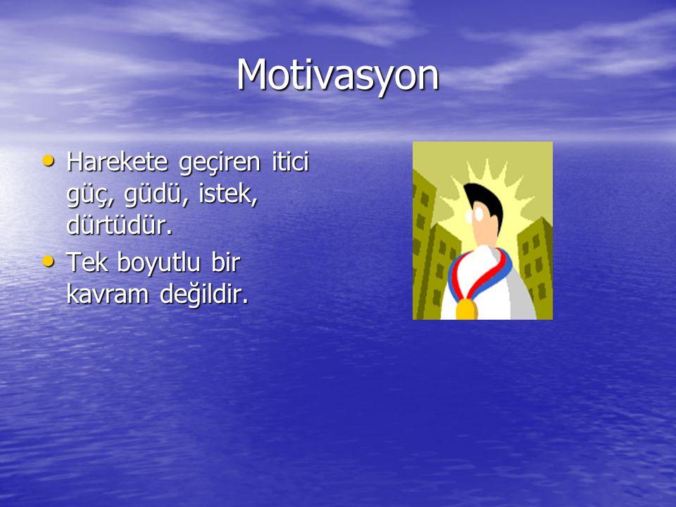 Çevresel ve kişisel özelliklerin etkileşimi neticesinde, bireyin motivasyon durumu etkilenmektedir.