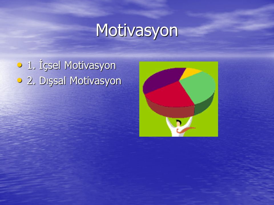 Motivasyon 1. İçsel Motivasyon 1. İçsel Motivasyon 2. Dışsal Motivasyon 2. Dışsal Motivasyon