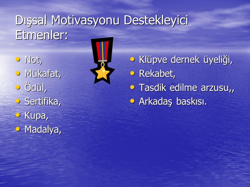 Dışsal Motivasyonu Destekleyici Etmenler: Not, Not, Mükafat, Mükafat, Ödül, Ödül, Sertifika, Sertifika, Kupa, Kupa, Madalya, Madalya, Klüpve dernek üy