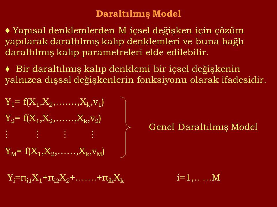 Daraltılmış Model ♦ Yapısal denklemlerden M içsel değişken için çözüm yapılarak daraltılmış kalıp denklemleri ve buna bağlı daraltılmış kalıp parametreleri elde edilebilir.