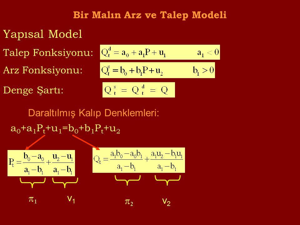 Bir Malın Arz ve Talep Modeli Talep Fonksiyonu: Arz Fonksiyonu: Denge Şartı: Daraltılmış Kalıp Denklemleri: a 0 +a 1 P t +u 1 =b 0 +b 1 P t +u 2  v1v1  v2v2 Yapısal Model