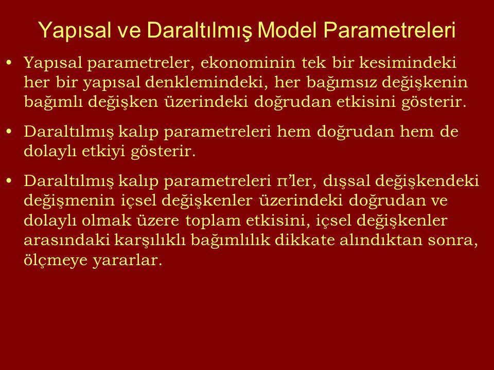 Yapısal ve Daraltılmış Model Parametreleri Yapısal parametreler, ekonominin tek bir kesimindeki her bir yapısal denklemindeki, her bağımsız değişkenin bağımlı değişken üzerindeki doğrudan etkisini gösterir.