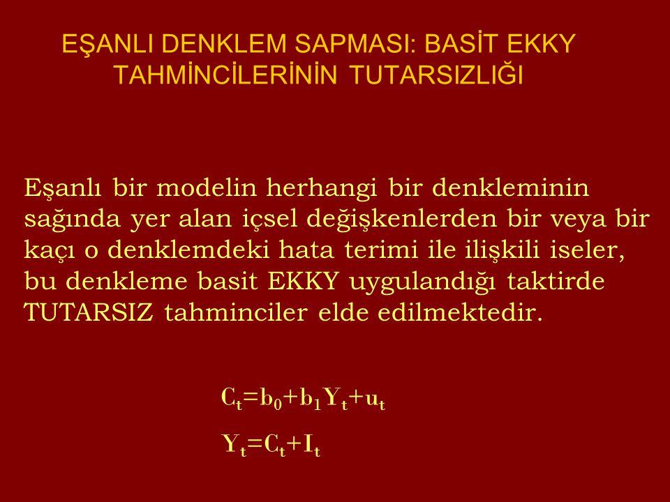 Eşanlı bir modelin herhangi bir denkleminin sağında yer alan içsel değişkenlerden bir veya bir kaçı o denklemdeki hata terimi ile ilişkili iseler, bu denkleme basit EKKY uygulandığı taktirde TUTARSIZ tahminciler elde edilmektedir.
