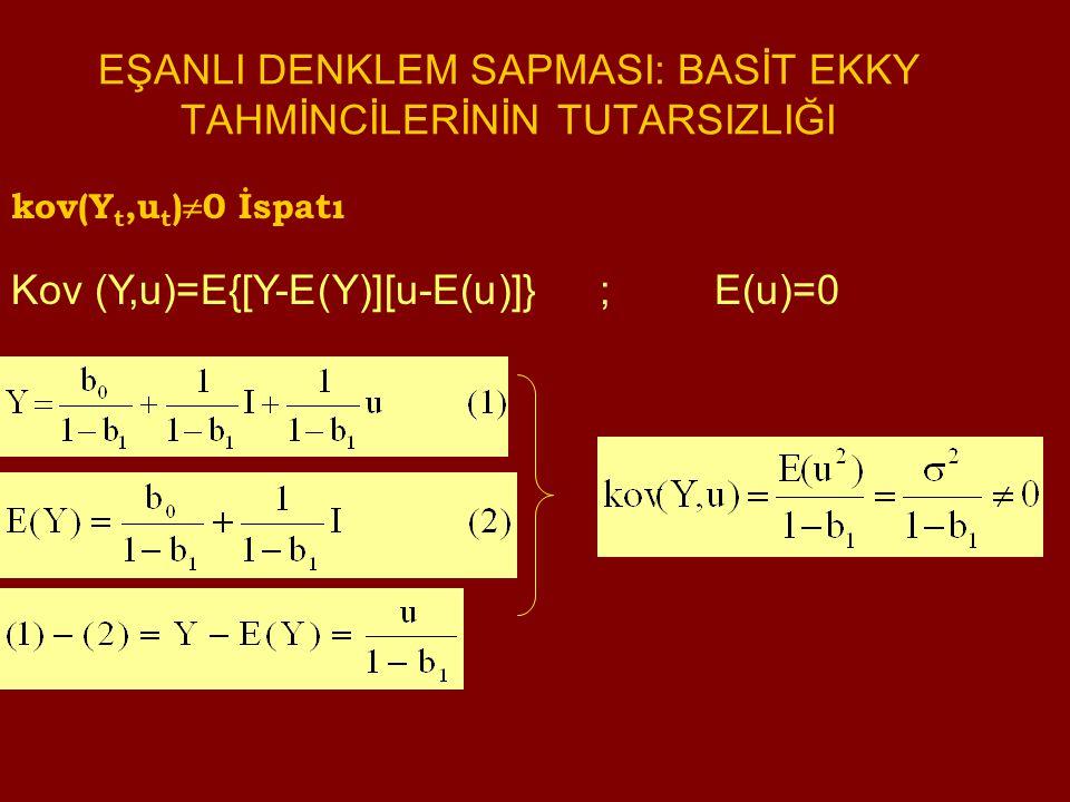 kov(Y t,u t )  0 İspatı Kov (Y,u)=E{[Y-E(Y)][u-E(u)]} ; E(u)=0 EŞANLI DENKLEM SAPMASI: BASİT EKKY TAHMİNCİLERİNİN TUTARSIZLIĞI