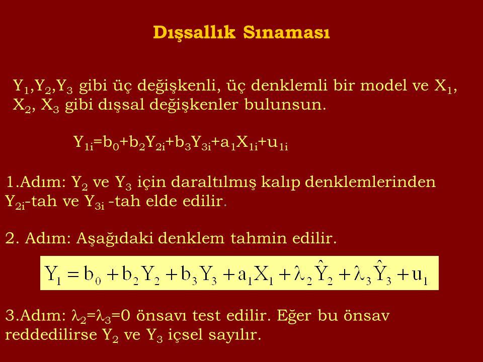 Dışsallık Sınaması Y 1,Y 2,Y 3 gibi üç değişkenli, üç denklemli bir model ve X 1, X 2, X 3 gibi dışsal değişkenler bulunsun.