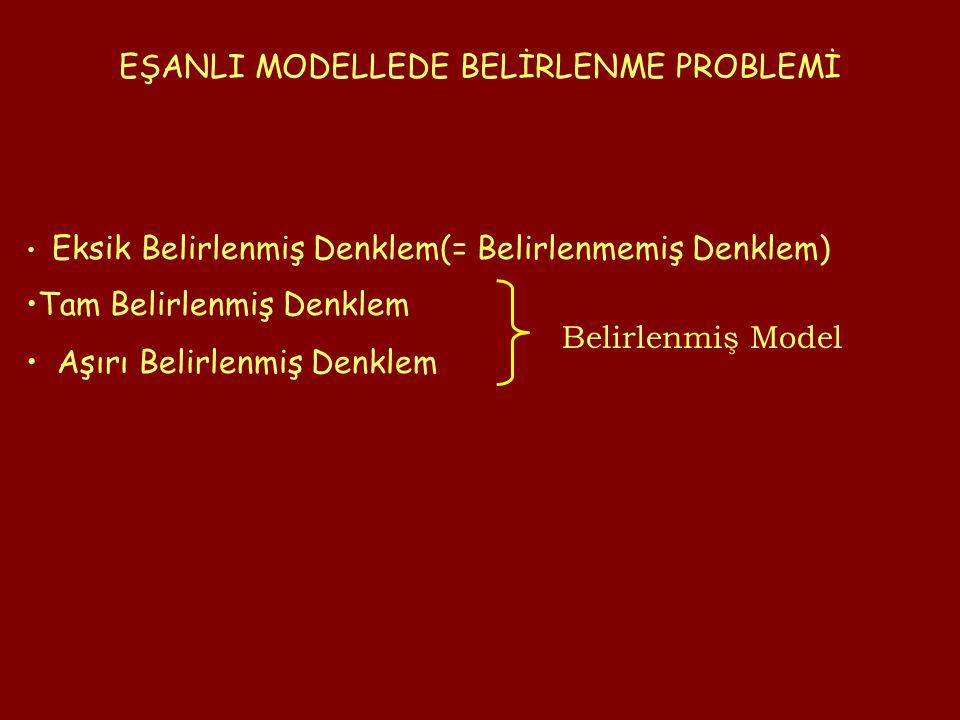 EŞANLI MODELLEDE BELİRLENME PROBLEMİ Eksik Belirlenmiş Denklem(= Belirlenmemiş Denklem) Belirlenmiş Model Tam Belirlenmiş Denklem Aşırı Belirlenmiş Denklem