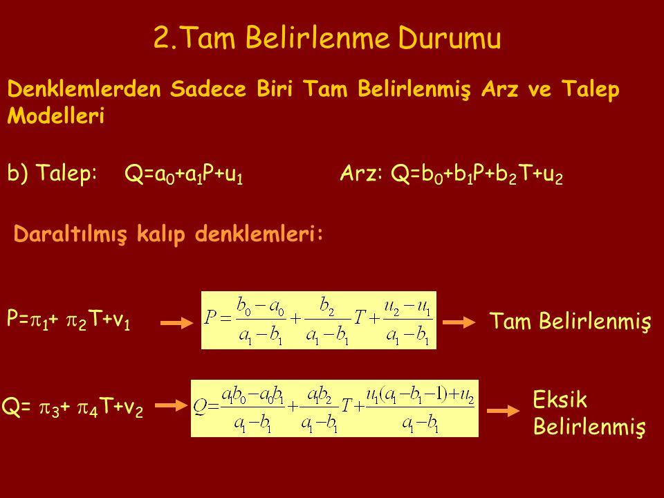 2.Tam Belirlenme Durumu Denklemlerden Sadece Biri Tam Belirlenmiş Arz ve Talep Modelleri b) Talep: Q=a 0 +a 1 P+u 1 Daraltılmış kalıp denklemleri: P=  1 +  2 T+v 1 Q=  3 +  4 T+v 2 Eksik Belirlenmiş Tam Belirlenmiş Arz: Q=b 0 +b 1 P+b 2 T+u 2