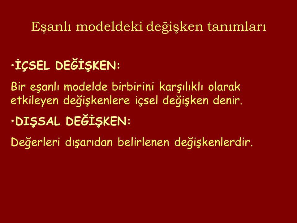 Eşanlı modeldeki değişken tanımları İÇSEL DEĞİŞKEN: Bir eşanlı modelde birbirini karşılıklı olarak etkileyen değişkenlere içsel değişken denir.