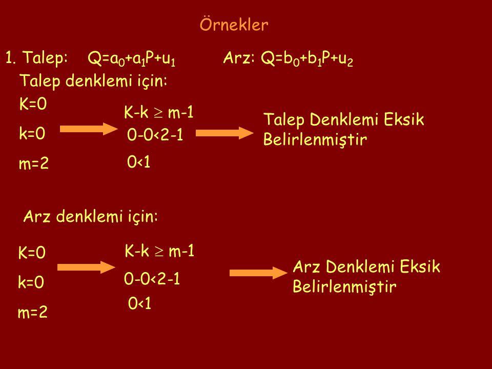 1. Talep: Q=a 0 +a 1 P+u 1 Arz: Q=b 0 +b 1 P+u 2 K=0 k=0 m=2 K-k  m-1 0-0<2-1 0<1 Talep Denklemi Eksik Belirlenmiştir K-k  m-1 0-0<2-1 0<1 K=0 k=0 m