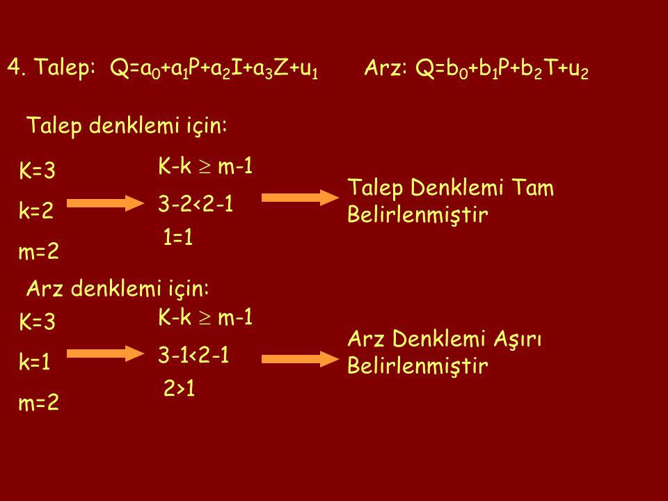 4. Talep: Q=a 0 +a 1 P+a 2 I+a 3 Z+u 1 Arz: Q=b 0 +b 1 P+b 2 T+u 2 K=3 k=2 m=2 K-k  m-1 3-2<2-1 1=1 Talep Denklemi Tam Belirlenmiştir K=3 k=1 m=2 K-k