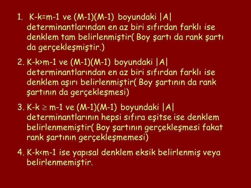 1. K-k=m-1 ve (M-1)(M-1) boyundaki |A| determinantlarından en az biri sıfırdan farklı ise denklem tam belirlenmiştir( Boy şartı da rank şartı da gerçe