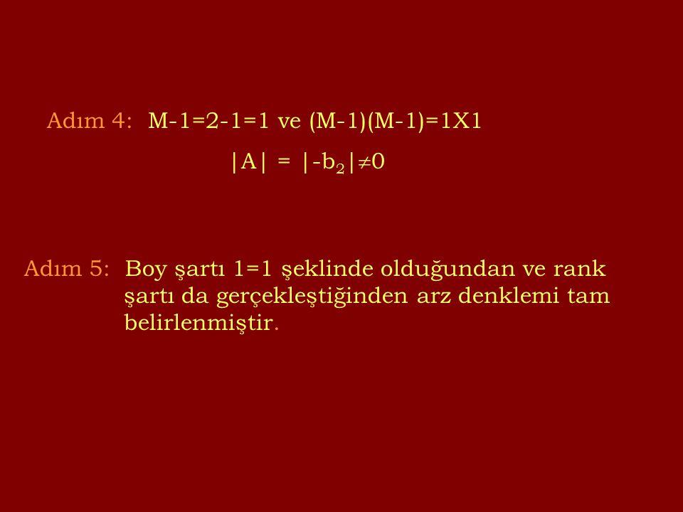 Adım 4: M-1=2-1=1 ve (M-1)(M-1)=1X1 |A| = |-b 2 |  0 Adım 5: Boy şartı 1=1 şeklinde olduğundan ve rank şartı da gerçekleştiğinden arz denklemi tam belirlenmiştir.