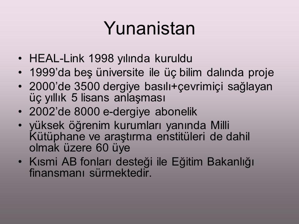 Yunanistan HEAL-Link 1998 yılında kuruldu 1999'da beş üniversite ile üç bilim dalında proje 2000'de 3500 dergiye basılı+çevrimiçi sağlayan üç yıllık 5