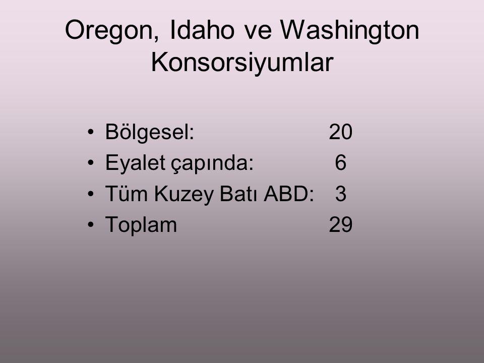 Oregon, Idaho ve Washington Konsorsiyumlar Bölgesel: 20 Eyalet çapında: 6 Tüm Kuzey Batı ABD: 3 Toplam29