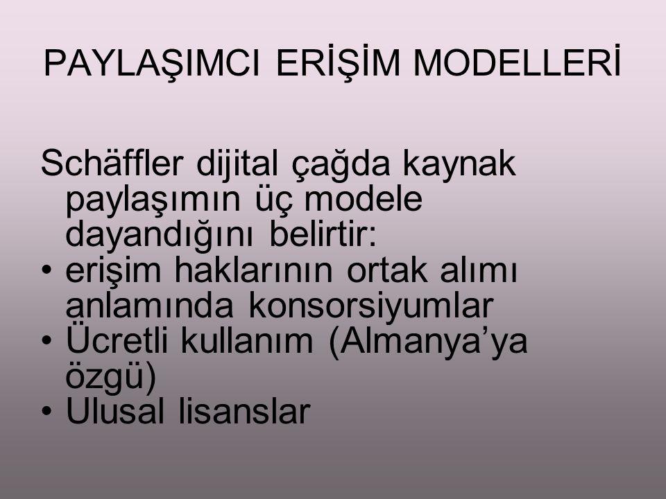 Türkiye'de Gelişmeler ULAKBİM – 1997 (Finansman sorunları nedeniyle sonuçsuz ) 2000 ANKOS – 12 üye ile başlangıç, 2006'da 87 üye, 25 sağlayıcı firma ile 33 veritabanı için anlaşma ile takdire şayan başarı ÜNAL – OCLC Sağlayıcı Firma temsilcilikleri Sağlayıcı ile doğrudan bağlantı ULAKBİM 2005 – Ulusal lisansla tüm araştırma kütüphaneleri için 5 veritabanı ile temel kaynaklara erişimde fırsat eşitliği