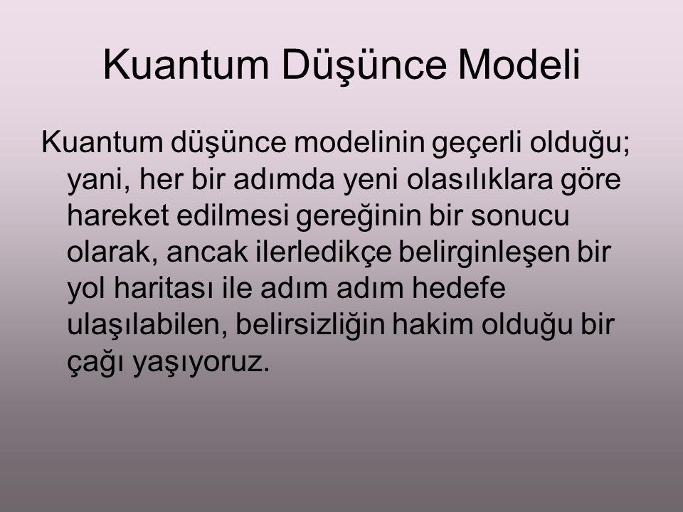 Kuantum Düşünce Modeli Kuantum düşünce modelinin geçerli olduğu; yani, her bir adımda yeni olasılıklara göre hareket edilmesi gereğinin bir sonucu ola