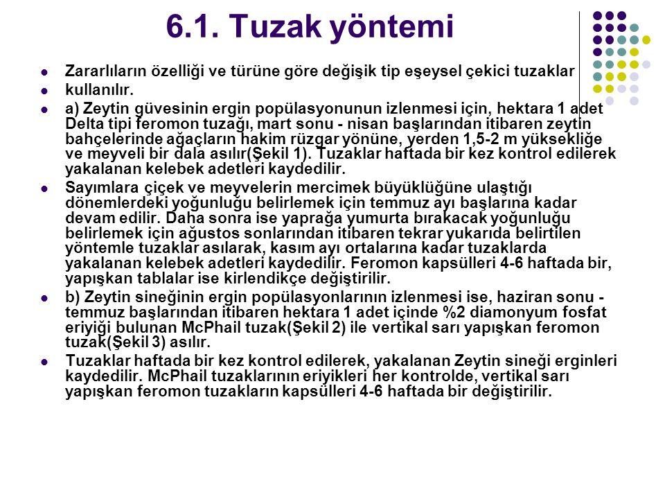 6.1. Tuzak yöntemi Zararlıların özelliği ve türüne göre değişik tip eşeysel çekici tuzaklar kullanılır. a) Zeytin güvesinin ergin popülasyonunun izlen