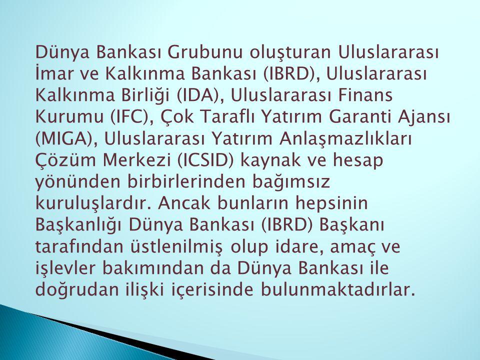 Dünya Bankası Grubunu oluşturan Uluslararası İmar ve Kalkınma Bankası (IBRD), Uluslararası Kalkınma Birliği (IDA), Uluslararası Finans Kurumu (IFC), Ç