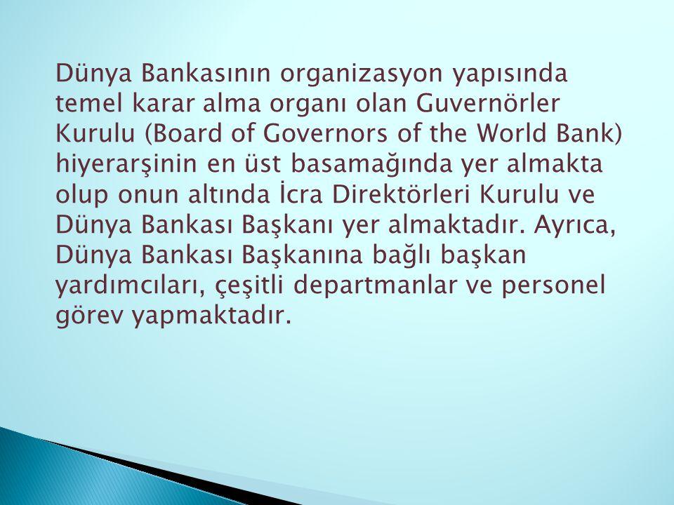 Dünya Bankasının organizasyon yapısında temel karar alma organı olan Guvernörler Kurulu (Board of Governors of the World Bank) hiyerarşinin en üst bas