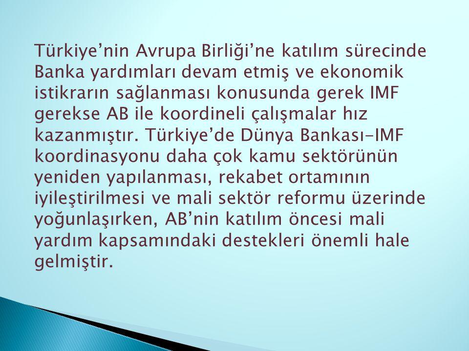 Türkiye'nin Avrupa Birliği'ne katılım sürecinde Banka yardımları devam etmiş ve ekonomik istikrarın sağlanması konusunda gerek IMF gerekse AB ile koor