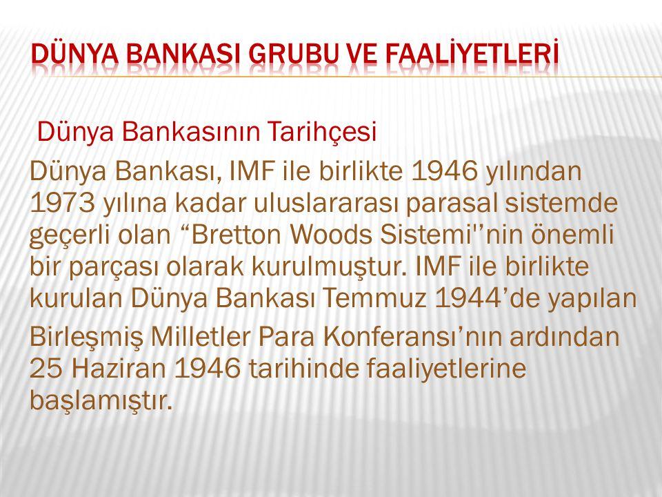 """Dünya Bankasının Tarihçesi Dünya Bankası, IMF ile birlikte 1946 yılından 1973 yılına kadar uluslararası parasal sistemde geçerli olan """"Bretton Woods S"""