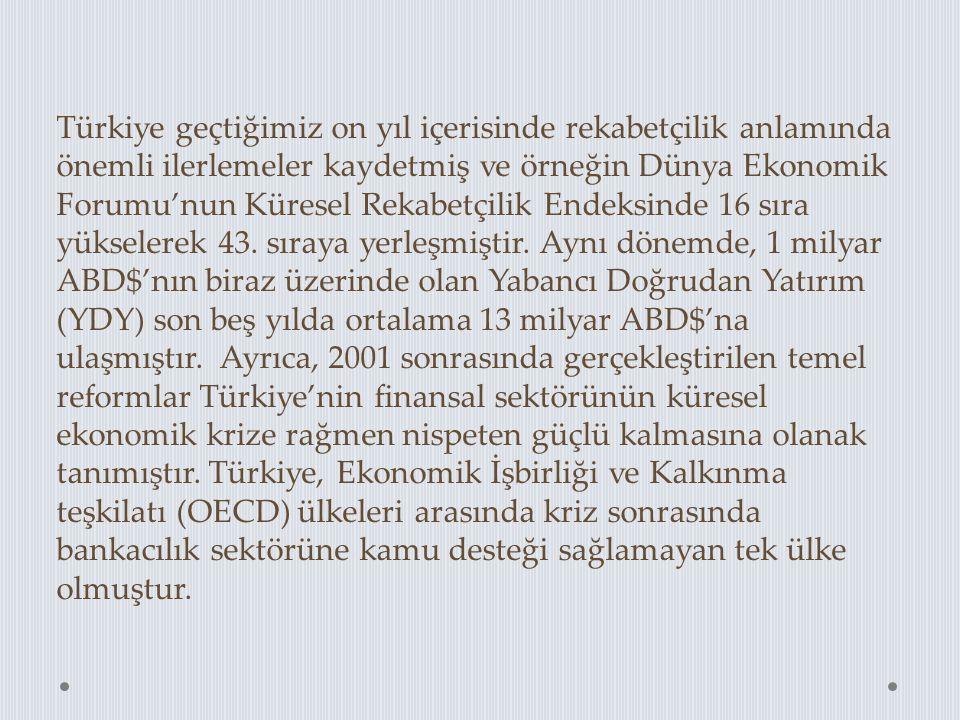 Türkiye geçtiğimiz on yıl içerisinde rekabetçilik anlamında önemli ilerlemeler kaydetmiş ve örneğin Dünya Ekonomik Forumu'nun Küresel Rekabetçilik End