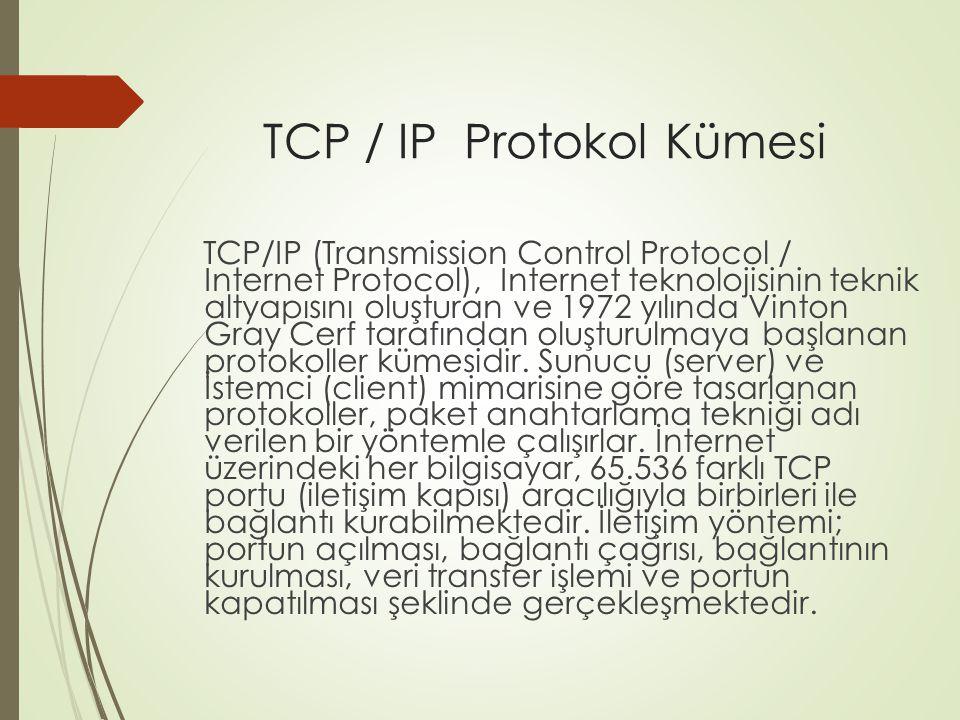TCP / IP Protokol Kümesi 1983 yılında TCP/IP (Transmission Control Protocol / Internet Protocol) protokolünün tamamlanması ve 1989 yılında Tim Berners Lee tarafından www (World Wide Web, dünya çapında ağ) servisinin oluşturulmasıyla İnternet bugünkü şeklini almaya başlamıştır.