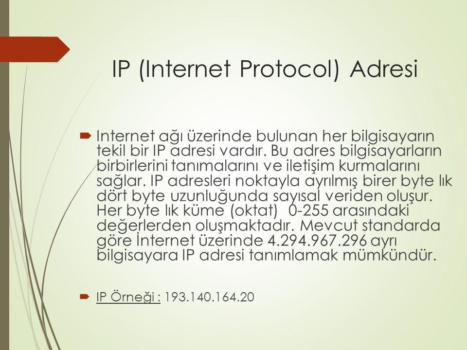 IP (Internet Protocol) Adresi  Internet ağı üzerinde bulunan her bilgisayarın tekil bir IP adresi vardır. Bu adres bilgisayarların birbirlerini tanım