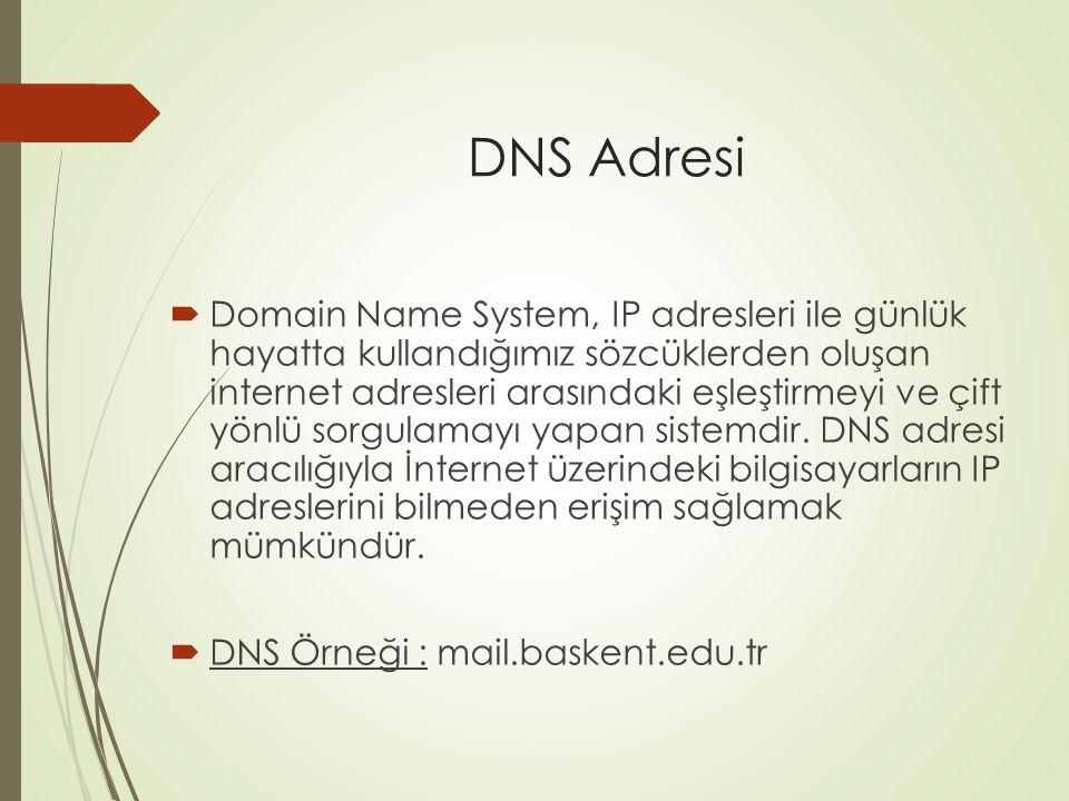 DNS Adresi  Domain Name System, IP adresleri ile günlük hayatta kullandığımız sözcüklerden oluşan internet adresleri arasındaki eşleştirmeyi ve çift