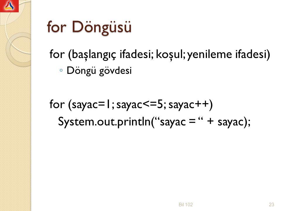 for Döngüsü for (başlangıç ifadesi; koşul; yenileme ifadesi) ◦ Döngü gövdesi for (sayac=1; sayac<=5; sayac++) System.out.println( sayac = + sayac); Bil 10223