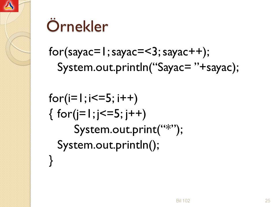 Örnekler for(sayac=1; sayac=<3; sayac++); System.out.println( Sayac= +sayac); for(i=1; i<=5; i++) {for(j=1; j<=5; j++) System.out.print( * ); System.out.println(); } Bil 10225