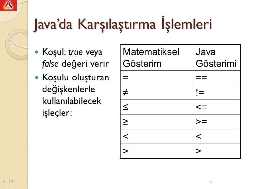 Java'da Karşılaştırma İ şlemleri Koşul: true veya false de ğ eri verir Koşulu oluşturan de ğ işkenlerle kullanılabilecek işleçler: Matematiksel Gösterim Java Gösterimi === ≠!= ≤<= ≥>= << >> Bil 102 4