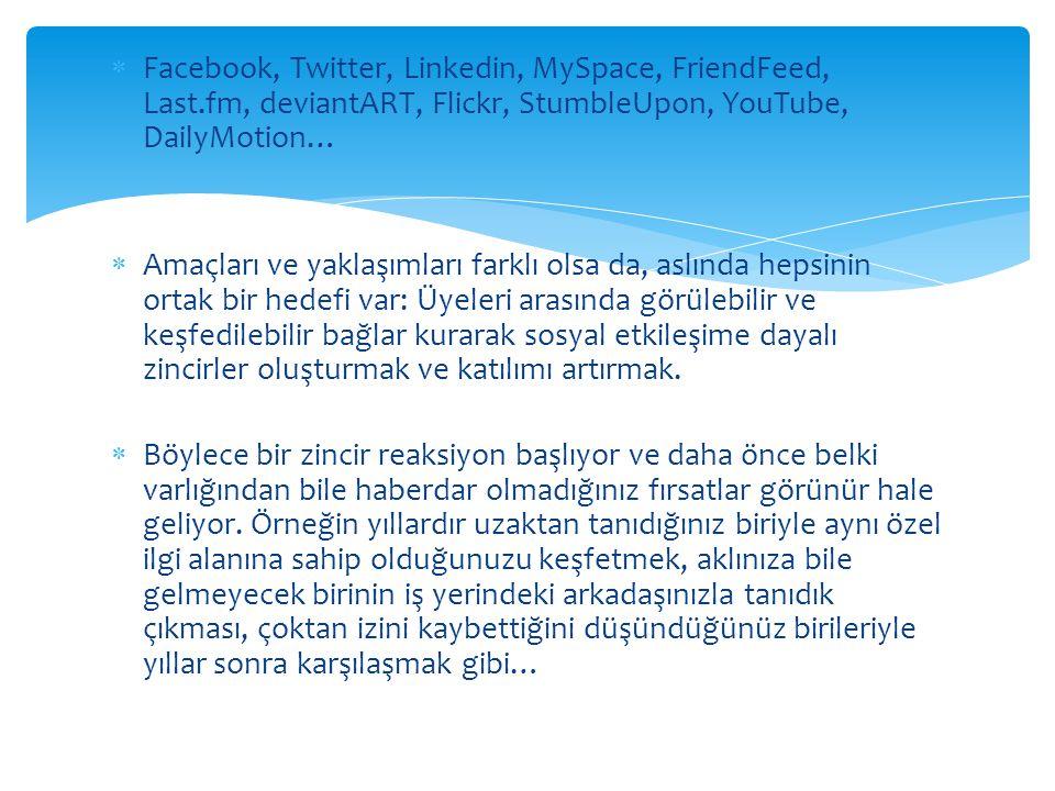  Facebook, Twitter, Linkedin, MySpace, FriendFeed, Last.fm, deviantART, Flickr, StumbleUpon, YouTube, DailyMotion…  Amaçları ve yaklaşımları farklı