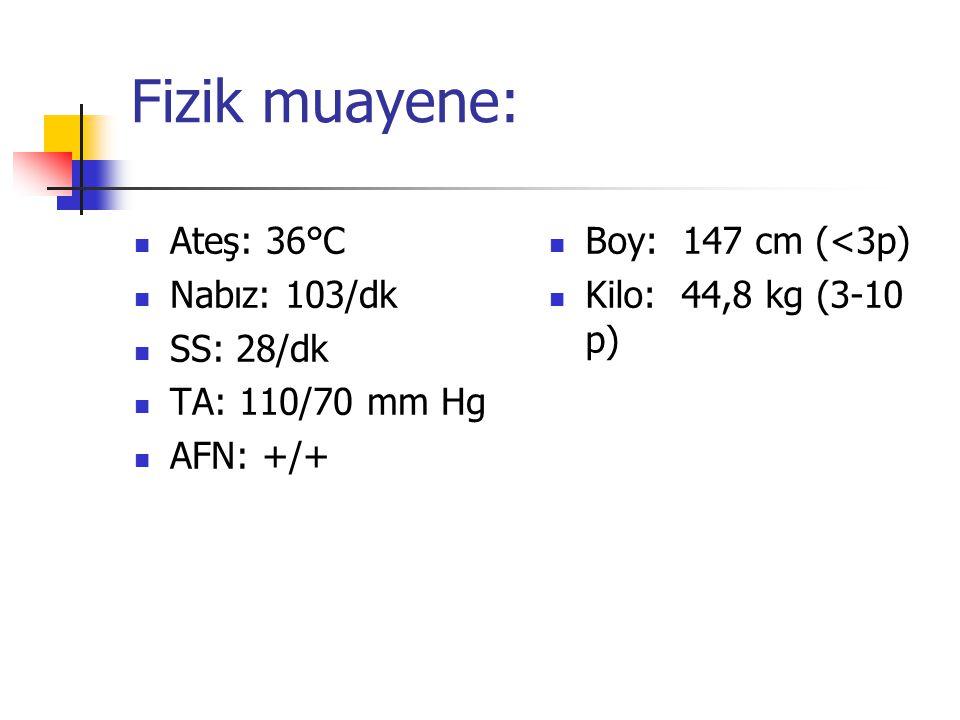 Fizik muayene: Ateş: 36°C Nabız: 103/dk SS: 28/dk TA: 110/70 mm Hg AFN: +/+ Boy: 147 cm (<3p) Kilo: 44,8 kg (3-10 p)