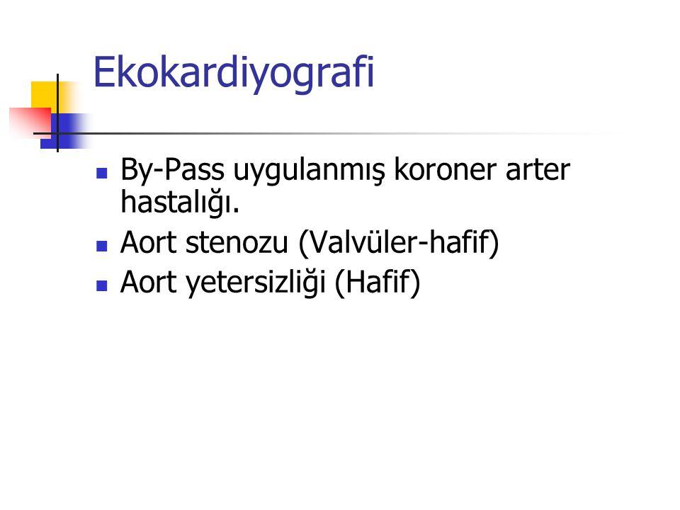 Ekokardiyografi By-Pass uygulanmış koroner arter hastalığı. Aort stenozu (Valvüler-hafif) Aort yetersizliği (Hafif)