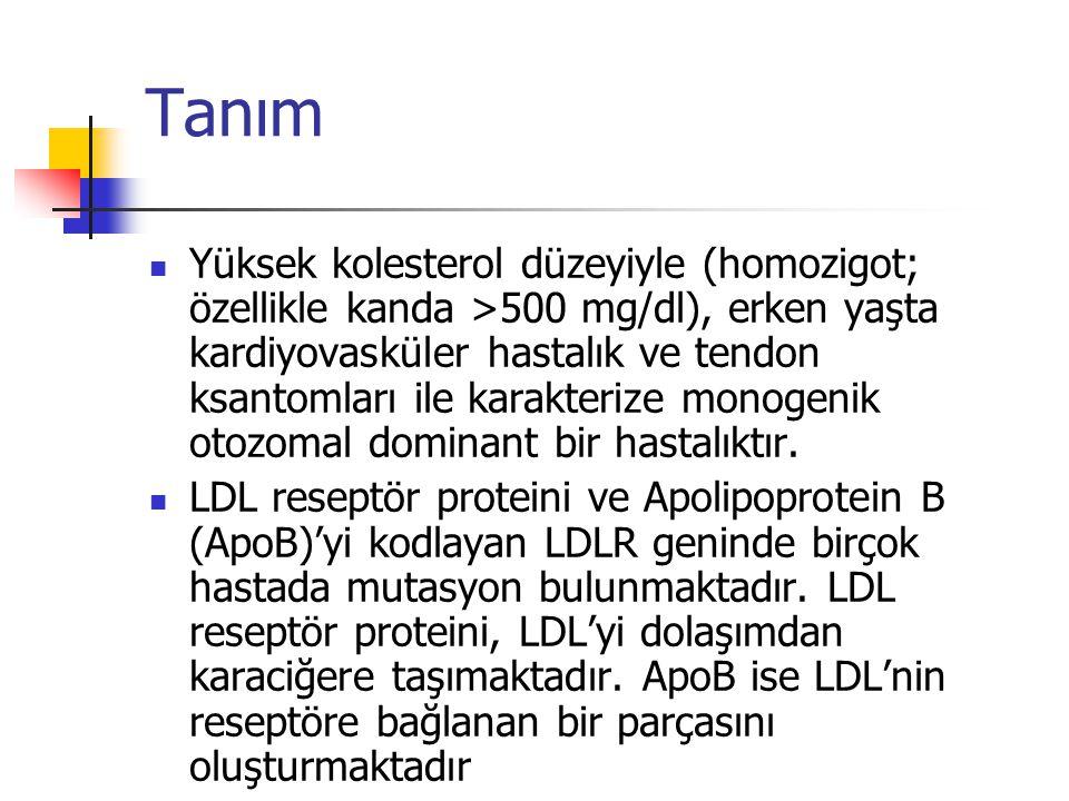 Tanım Yüksek kolesterol düzeyiyle (homozigot; özellikle kanda >500 mg/dl), erken yaşta kardiyovasküler hastalık ve tendon ksantomları ile karakterize